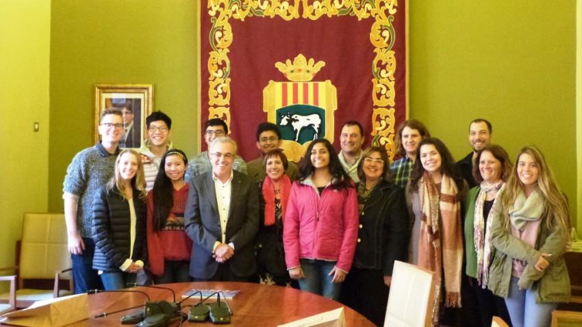 Visita dels estudiants d'intercanvi a l'Ajuntament de les Borges